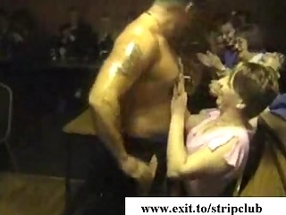 drunk wives attacking dicks in stripper bar