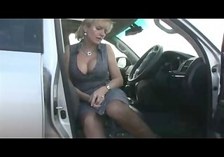 breasty in stockings in the car