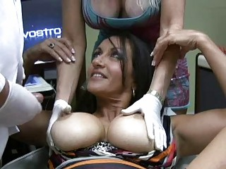 enormous chested latina milfs gets team-fucked