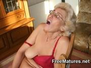 grandmom in pantyhose masturbating with dildo