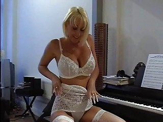 busty blond milf in hot lace lingerie fingers her