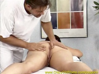 chubby mom enjoys a massage