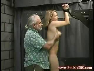blond milf is bound up and gets her ass spanked