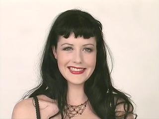 dark-haired sweetheart in underware poses nude
