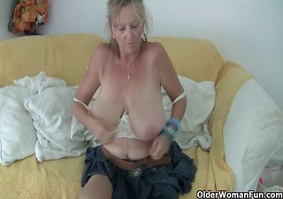 granny with large tits masturbates in pantyhose