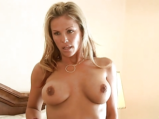 blonde mother i massages her huge breast with a