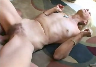 a skinny, hairy, wrinkled old lady gets drilled