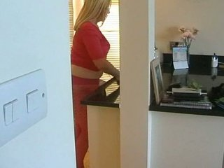 breasty golden-haired hose wife in her kitchen