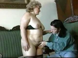 fat, blond granny gets licked, blows, and gets