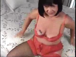 Chubby brunette mom gets drilled from behind and