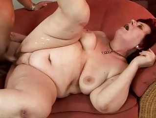 fat grandma receives drilled nice-looking hard