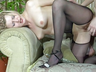 pale blond mother i in dark hose gets fucked