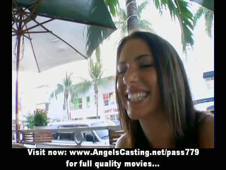 Hot amateur latina eating hotdog and undressing