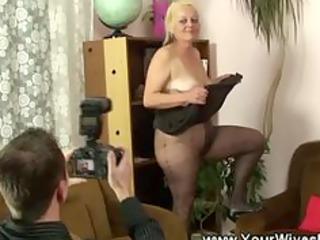 granny cuts a aperture in her hose