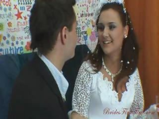 cute brunette russian wife eats his dick and gets