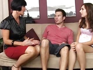 sexy mum teaching her preggy daughter how to